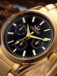Men's Dress Watch Fashion Watch Japanese Quartz Calendar / date / day Stainless Steel Band Casual Cool Gold