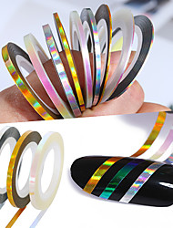 cheap -3 Rolls Holographic Nail Line Decal Set Striping Tapes 1mm 2mm 3mm Adhesive Laser Manicure Nail Decoration Sticker