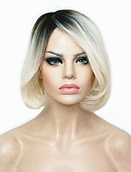 New arrival Short Straight Dark to Blonde Ombre Bob Side Swept Bangs High Heat Resistant Full Synthetic Wigs