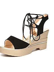 cheap -Women's Shoes Synthetic Summer Comfort Sandals Wedge Heel Peep Toe for Casual Black Red Green