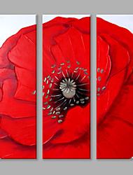 Dipinta a mano Floreale/BotanicalContemporaneo Fiore Tre Pannelli Tela Hang-Dipinto ad olio For Decorazioni per la casa