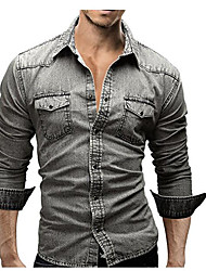Camicia Da uomo Ufficio/Business Quotidiano Casual Semplice Moda città Per tutte le stagioni,Tinta unita Colletto Il 70% Wool30% Cotone