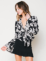 Women's Going out Sexy Blouse,Floral V Neck Long Sleeves Silk