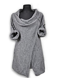 Women's Casual/Daily Cute Regular Cardigan,Solid Round Neck Cotton Others Fall Medium Micro-elastic