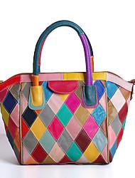 cheap -Women's Bags Cowhide Tote Zipper for Casual Summer Rainbow