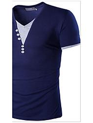 T-shirt Da uomo Casual SempliceMonocolore A V Cotone Manica corta