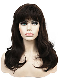 New Long Wavy Brown Synthetic Wigs with Bang for Women