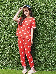 Women's Pajamas Suit Classic Stars Pattern Comfy Casual Home Sleepwear Set