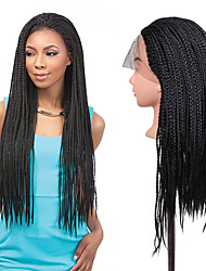 24inch Black braided wig lace frontal Micro synthetic box braids wigs heat resistant fiber long synthetic wigs