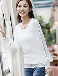 Women's Beach Sexy T-shirt,Polka Dot Round Neck Long Sleeve Cotton