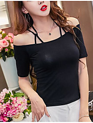 cheap -Women's Casual Summer T-shirt,Solid Off Shoulder Sleeveless Cotton Thin