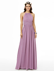 cheap -A-Line Jewel Neck Floor Length Chiffon Bridesmaid Dress with Criss Cross / Ruched / Pleats by LAN TING BRIDE® / Open Back