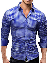cheap -Men's Business Daily Casual Active Street chic All Seasons Shirt,Solid Shirt Collar Long Sleeves 100%Polyester Medium