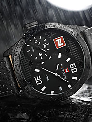 NAVIFORCE Men's Sport Military Fashion Wristwatch Luxucy Casual Calendar Large Dial Genuine Leather Creative Quartz Unique Cool Dual Time Zones Watch