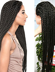 cheap -32inch black braided wig lace frontal micro synthetic box braids wigs heat resistant fiber long synthetic wigs
