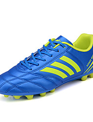 Soccer Shoes Men's Athletic Shoes Comfort PU Spring Fall Outdoor  Lace-up Flat Heel Blue Green Black White Under 1in