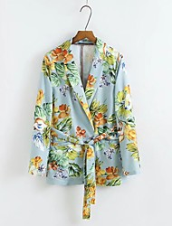 Women's Casual Party/Cocktail Pattern Spring/Fall Jacket,Print Shirt Collar Long Sleeve Regular Cotton