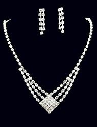 Set di gioielli Strass Quadrato Strass Lega Quadrato 1 collana 1 paio di orecchini Per Matrimonio Feste Compleanno 1 Set Regali di nozze