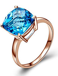 cheap -Women's Synthetic Diamond Rose Gold Cubic Zirconia Silver Plated Ring - Square Cut Fashion Blue Champagne Ring For Birthday