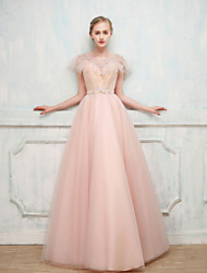 Ball Gown Illusion Neckline Floor Length Satin Tulle Cocktail Party Formal Evening Dress with Beading by SG