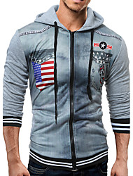 cheap -Men's Fashion Long Sleeve Slim Hoodie - Patchwork / 3D Print / Fashion, Animal Pattern / Knitting / Patchwork Hooded