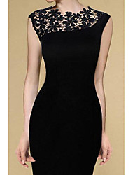 Women's Party Going out Sexy Simple Bodycon Dress,Solid Round Neck Mini Above Knee Sleeveless Lace Summer Mid Rise Micro-elastic Medium