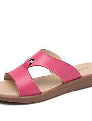 preiswerte -Damen Schuhe Leder Sommer Herbst Komfort Sandalen Flacher Absatz für Kleid Weiß Gelb Fuchsia
