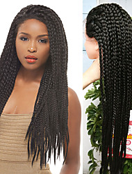 32inch Synthetic lace front wig 1B black micro baby hair braid wigs with for women with heat resistant fiber box braid wig glueless