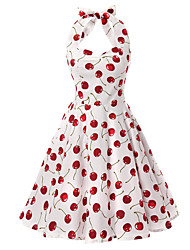 Women's Rockabilly Vintage Dress Cherries Halter Knee-length Sleeveless Cotton All Seasons Mid Rise