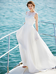 cheap -A-Line Scoop Neck Floor Length Chiffon Custom Wedding Dresses with Lace by LAN TING BRIDE®
