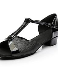 Women's Latin Paillette Sneaker Indoor Chunky Heel Black Customizable