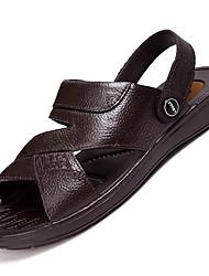 Men's Sandals Comfort Leather Summer Outdoor Walking Flat Heel Brown Black Under 1in