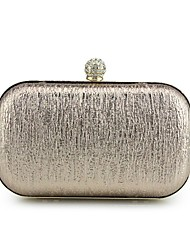 Women Bags Spring/Fall All Seasons PU Clutch Metal Chain for Event/Party Champagne Gold Black Silver Red