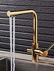 cheap -Kitchen faucet - Art Deco / Retro Ti-PVD Standard Spout Vessel