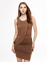 cheap -Women's Solid Blue/Black/Brown Dress,Bodycon Round Neck Sleeveless Gathered