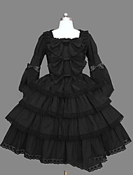 cheap -Gothic Lolita Dress Sweet Lolita Dress Princess Punk Women's Girls' One Piece Dress Cosplay Black Cap Long Sleeves Short / Mini
