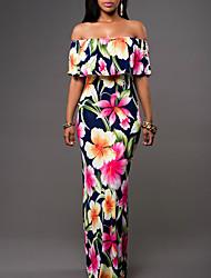 Women's Off The Shoulder|Ruffle|Boho Holiday Boho Ruffle Sexy Sheath Dress,Floral Strapless Maxi Sleeveless Blue / Green Summer