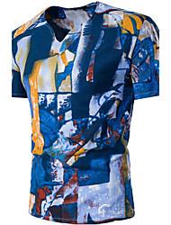 Herren Bedruckt Einfach Aktiv Lässig/Alltäglich T-shirt,V-Ausschnitt Sommer Kurzarm Baumwolle Dünn