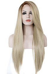 cheap -Synthetic Lace Front Wig Straight With Bangs Side Part Natural Hairline Ombre Hair Blonde Women's Lace Front Carnival Wig Halloween Wig