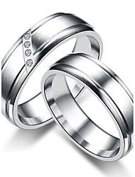 preiswerte -Damen Paar Eheringe Ring Bandring , Kubikzirkonia Titan Kubikzirkonia Titanstahl Kreisförmig Prinzessin Klassisch Simple Style Hochzeit