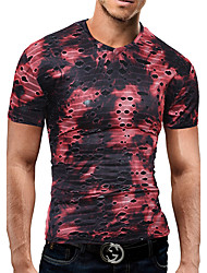 cheap -Men's Party Casual Street chic T-shirt - Color Block Mesh Fashion, Lace Mesh Novelty Stylish V Neck
