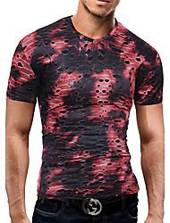economico -T-shirt Da uomo Feste Compleanno Da sera Casual Sensuale Semplice Moda città Primavera Estate,Monocolore Retato Di tendenza A VMisto