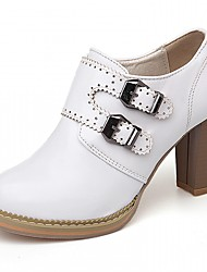 cheap -Women's Heels Leatherette PU Summer Fall Walking Buckle Chunky Heel White Beige Blushing Pink 3in-3 3/4in