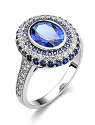 Women's Ring Engagement Ring Synthetic Sapphire AAA Cubic Zirconia Circle Luxury Classic Elegant Synthetic Gemstones Cubic Zirconia Round