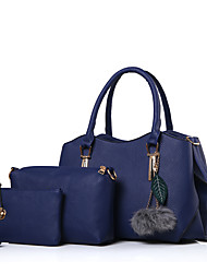baratos -Mulheres Bolsas PU Conjuntos de saco Ziper Vermelho / Rosa / Cinzento