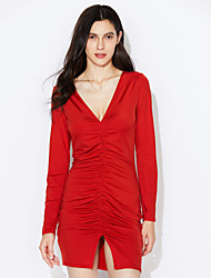 Damen Bodycon Kleid-Lässig/Alltäglich Sexy / Einfach Solide Tiefes V Mini Langarm Blau / Rot / Weiß / Schwarz Polyester Frühling / Herbst