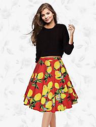preiswerte -Damen Schaukel Röcke - Blumen, Druck