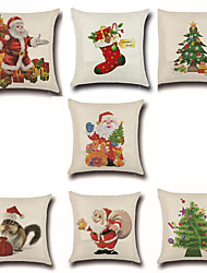 Set Of 7 Merry Christmas Design Santa Claus Pillow Cover Creative Pillow Case 45*45Cm Cushion Cover