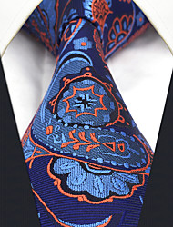 cheap -CS13 Handmade New For Mens Ties Classic Blue Orange Abstract 100% Silk Fashion Dress Unique Casual