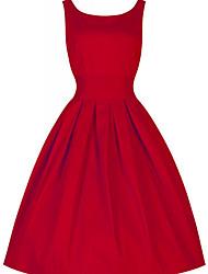 abordables -Femme Rétro Chic de Rue Coton Patineuse Robe Couleur Pleine Taille Haute Au dessus du genou Rouge